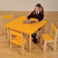 Height Adjustable Beechwood Square Table  Yellow